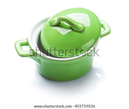 Green saucepan. Isolated on white background - stock photo