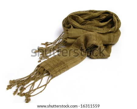 Green scarf from India on white background - stock photo