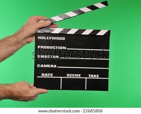 green screen movie clapper - stock photo