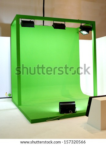 Green screen set for movie shooting - stock photo