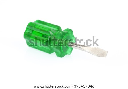 Green screw drivers isolated on white background