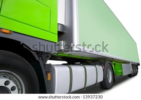 green semi truck - stock photo