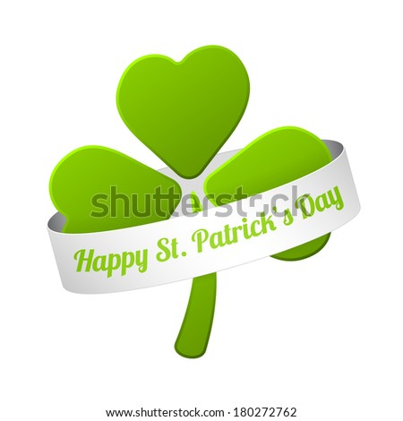 green shamrock with happy st. patricks's day sign on the white ribbon (raster version, available as vector too) - stock photo