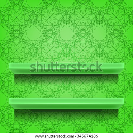Green Shelves on Ornamental Green Lines Background - stock photo
