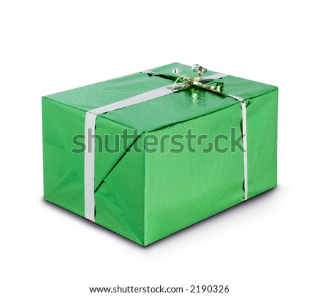 Green shiny gift box with silver ribbon