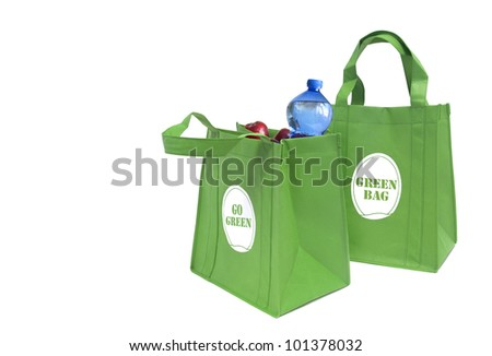 Green shopping bag - stock photo