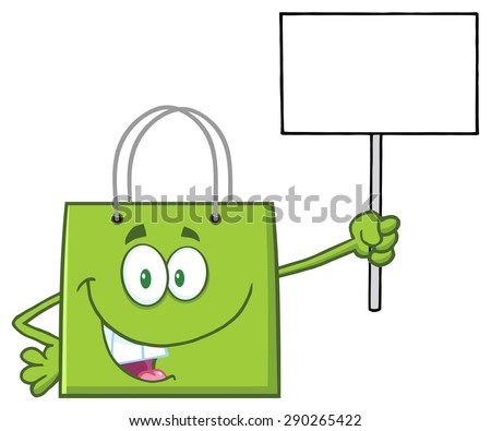 Green Shopping Bag Cartoon Character Holding Up A Blank Sign. Raster Illustration Isolated On White - stock photo
