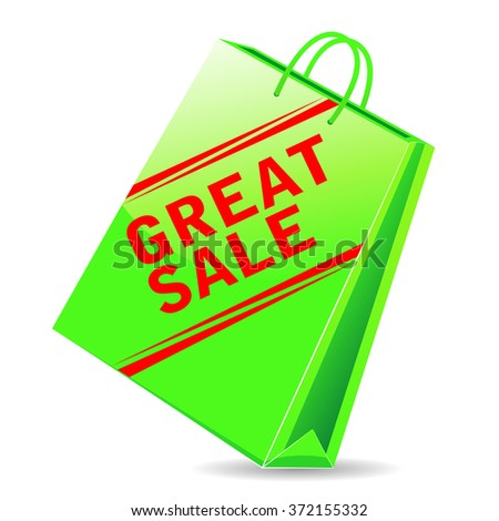 green shopping bag - great sale - stock photo