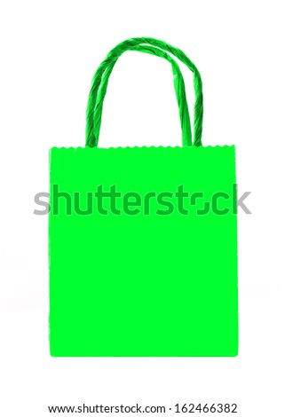 green shopping bag isolated