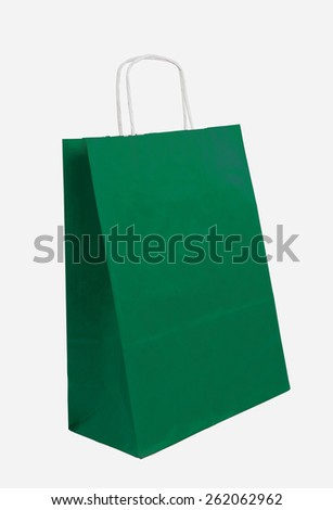 green shopping bag on the white background