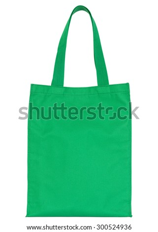 green shopping fabric bag isolated