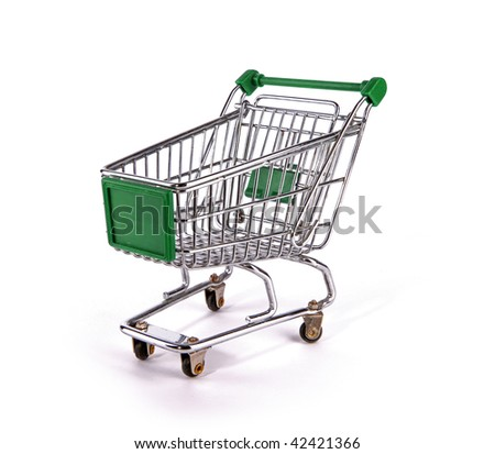 Green shopping trolley over white background - stock photo