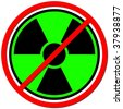 Green sign against radiation on white background. - stock photo