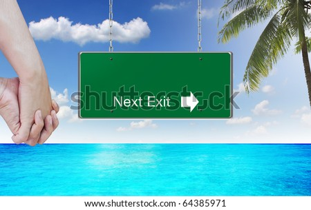 Green sign in background - stock photo