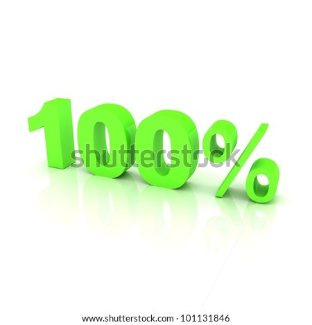 Green sign showing a 100 percent discount. - stock photo