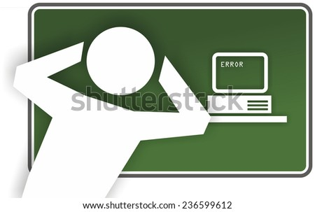 green sign with abstract advice for computing - stock photo