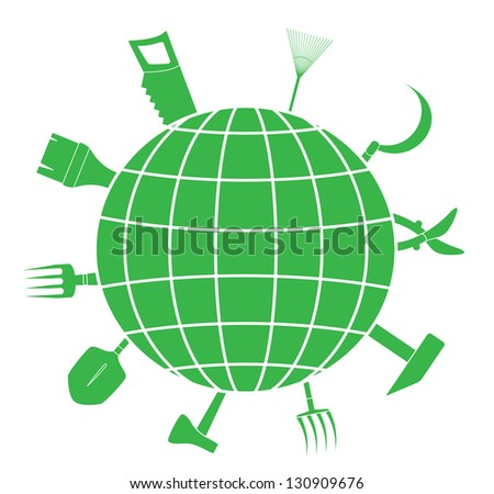 green sign with garden tools and planet silhouette, symbol landscaping - stock photo