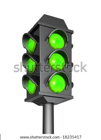 Green signal of a 3d traffic light