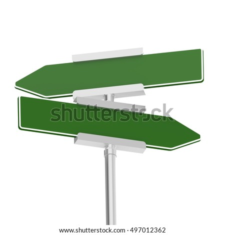Green signboard with metal pole, 3D rendering