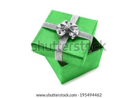 Green silk gift box isolated over white - stock photo