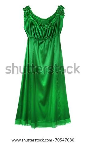 Green silk women luxury dress isolated on white - stock photo