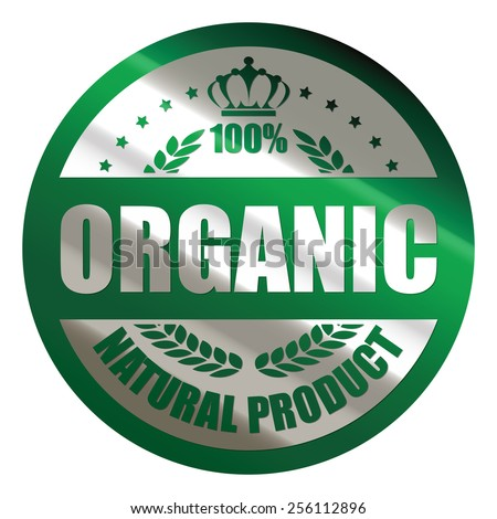 green silver metallic circle 100% organic natural product sticker, icon, label, sign, banner isolated on white