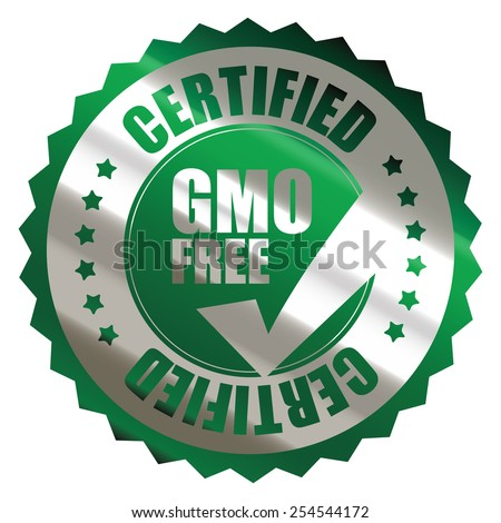 green silver metallic GMO free certified sticker, banner, sign, icon, label isolated on white