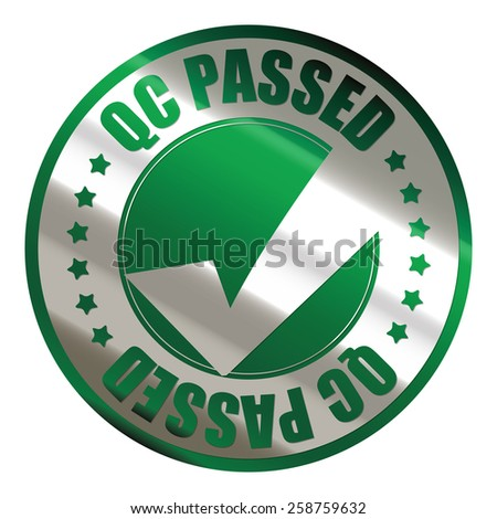 green silver metallic qc passed sticker, icon, label, sign, banner isolated on white  - stock photo