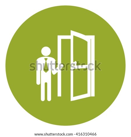 Green Simple Circle Businessman With Door Opened Infographics Flat Icon, Sign Isolated on White Background - stock photo