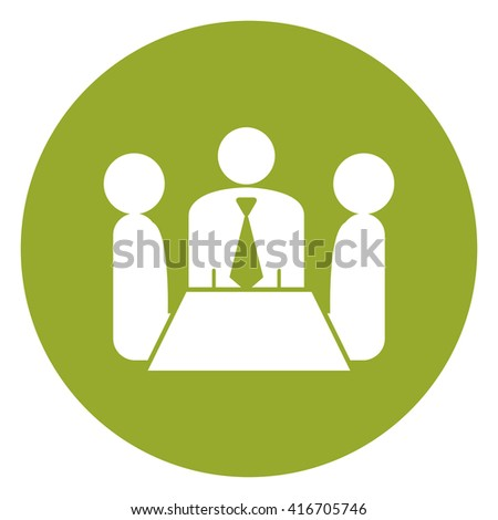 Green Simple Circle Group of Businessman Meeting, Discussion Flat Icon, Sign Isolated on White Background - stock photo