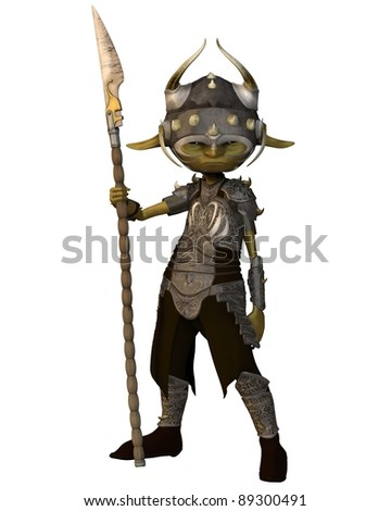 Green-skinned goblin soldier carrying a spear, 3d digitally rendered illustration - stock photo