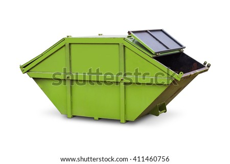 Green skip or dumpster - stock photo