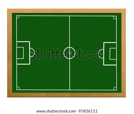 Green slate with football field. - stock photo