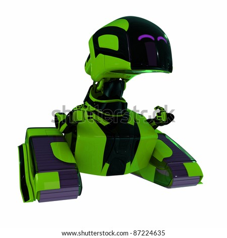 Green smiling robotic toy isolated on white