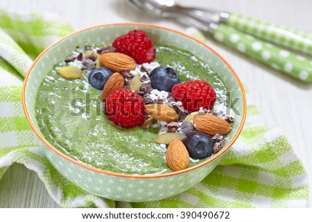Green smoothie bowl  - stock photo