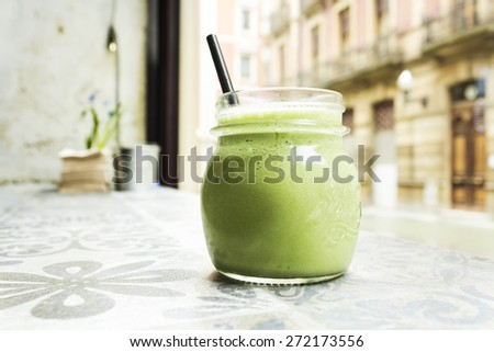 Green smoothie. Detox superfood - stock photo
