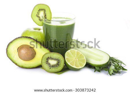 Green smoothie with fruits and vegetables isolated on white background - stock photo