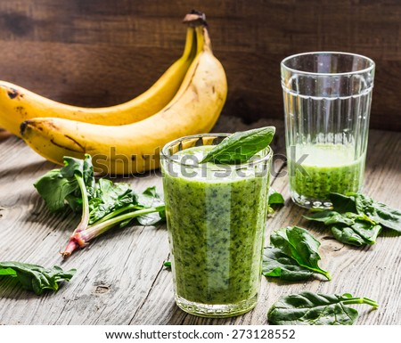 green smoothie with spinach, banana and peanut milk, clean eating, , detox - stock photo
