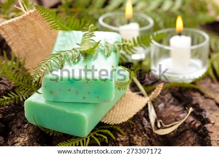 Green soap with fern leaves and candles.  - stock photo