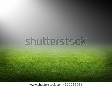 Green soccer field, bright spotlight, illuminated stadium - stock photo