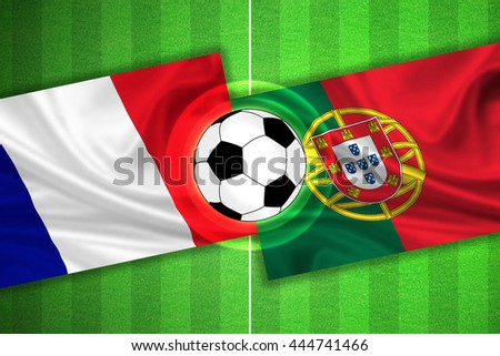 green Soccer / Football field with stripes and flags of france - portugal, and ball.