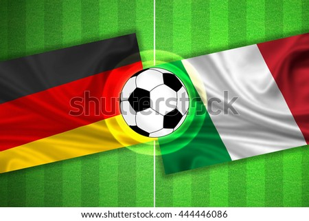green Soccer / Football field with stripes and flags of germany - italy, and ball.