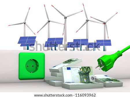 Green socket with green plug, euro banknotes, solar panels and wind towers. White background. - stock photo