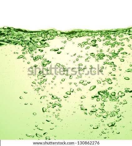 green soda drink with bubbles - stock photo
