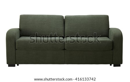 Green sofa isolated on white include clipping path