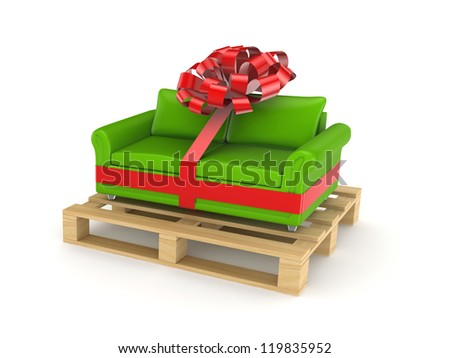 Green sofa on pallet.Isolated on white background.3d rendered. - stock photo