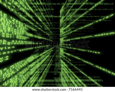Green software code with a perspective - stock photo