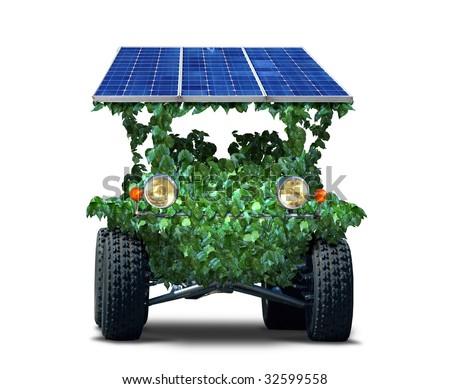 green solar car - stock photo