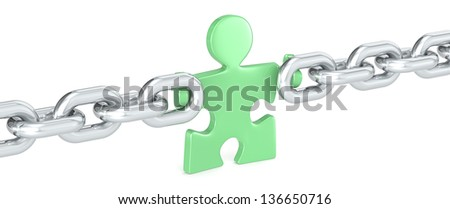 Green Solution. Puzzle people holding Chain Link. Green. - stock photo