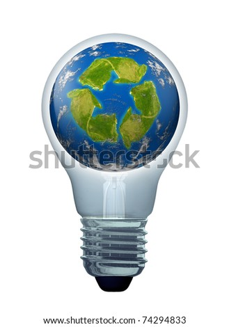 Green solutions and energy saving ideas symbol represented by a light bulb and a recycle icon shaped continent on an earth sphere model.
